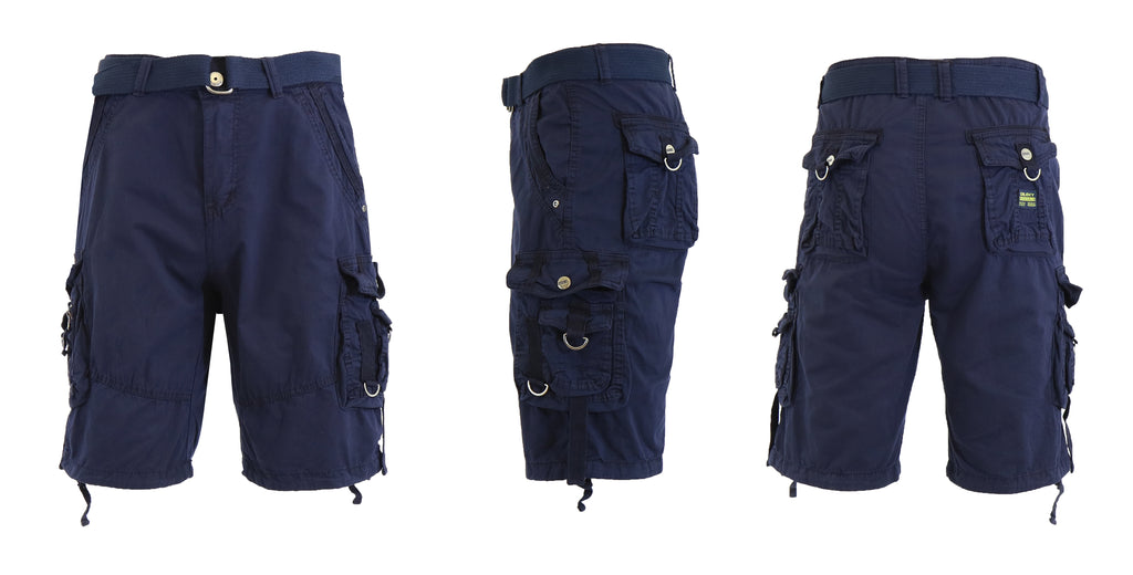 Daily Steals-Men's Belted Multi-Pocket Cargo Utility Shorts-Men's Apparel-Navy-30-