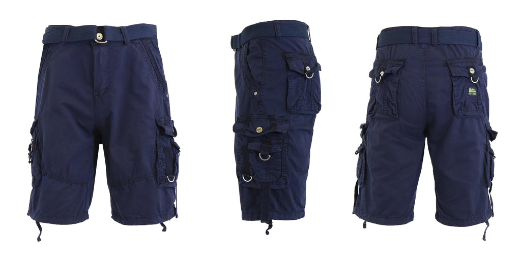 Men's Belted Multi-Pocket Cargo Utility Shorts-Navy-30-Daily Steals