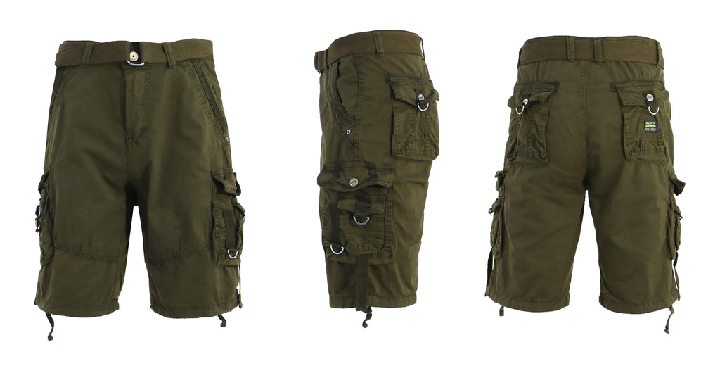 Men's Belted Multi-Pocket Cargo Utility Shorts-Olive-30-Daily Steals