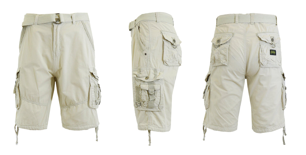 Men's Belted Multi-Pocket Cargo Utility Shorts-Stone-30-Daily Steals