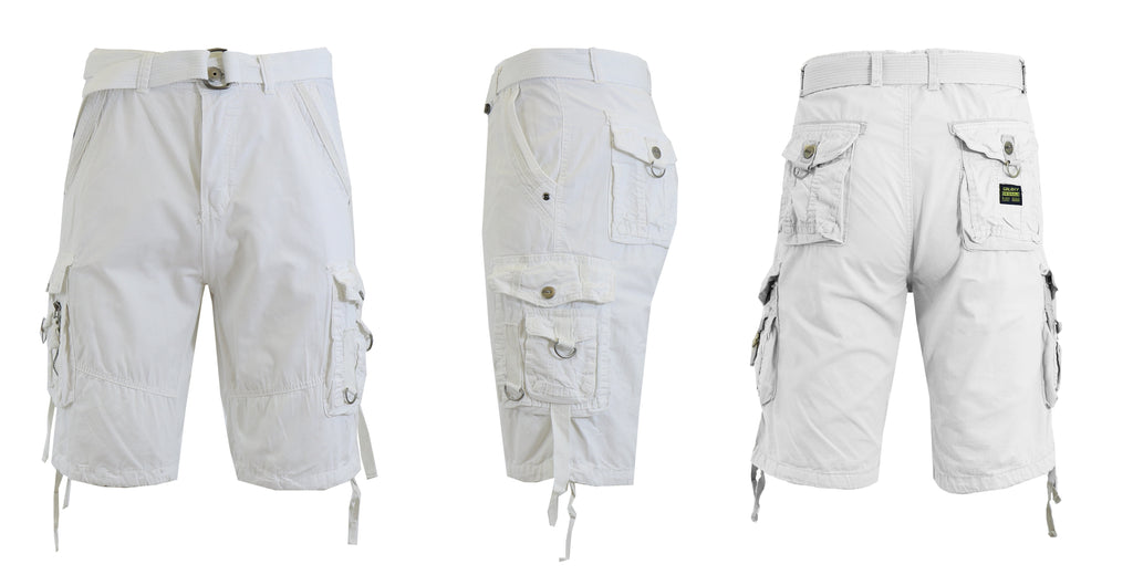 Daily Steals-Men's Belted Multi-Pocket Cargo Utility Shorts-Men's Apparel-White-30-