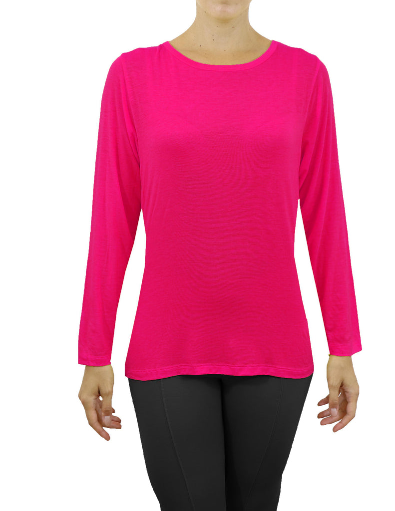 Women's Lightweight Long Sleeve Stretch Tee-Pink-X-Small-Daily Steals