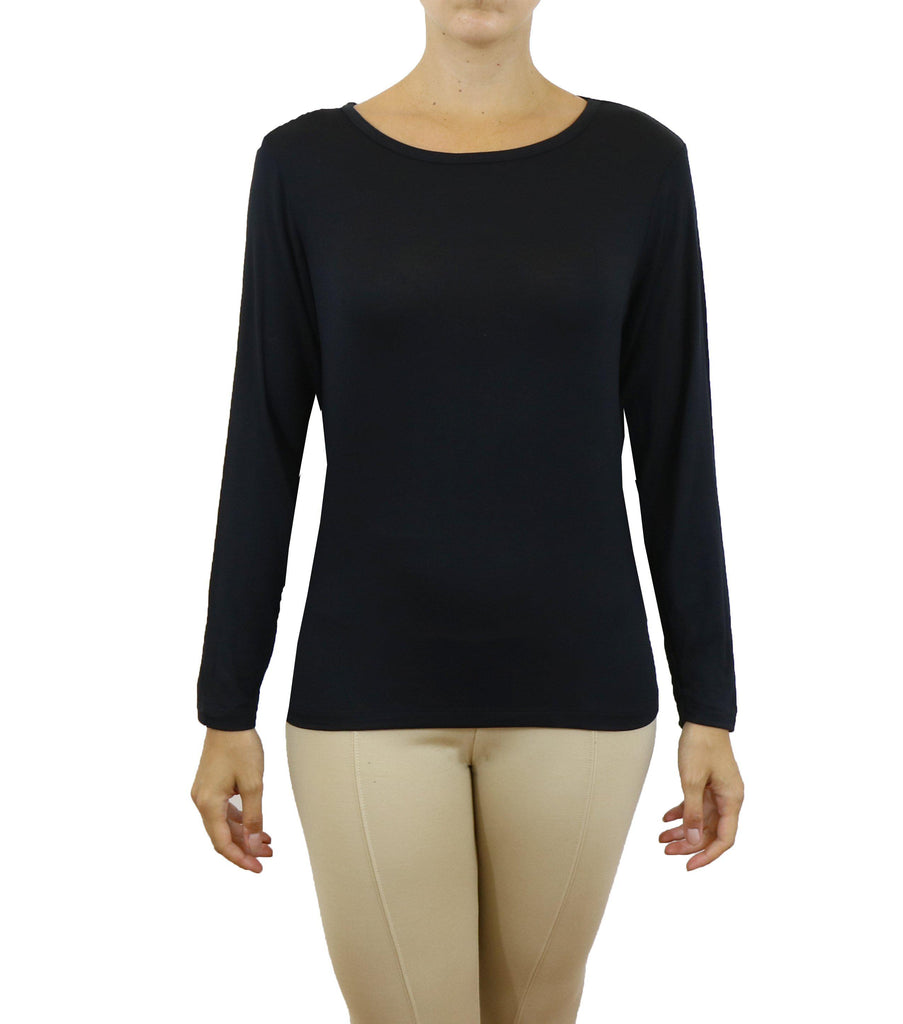 Women's Lightweight Long Sleeve Stretch Tee-Black-X-Small-Daily Steals