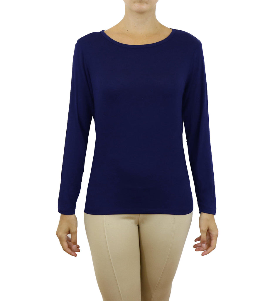 Women's Lightweight Long Sleeve Stretch Tee-Navy-X-Small-Daily Steals