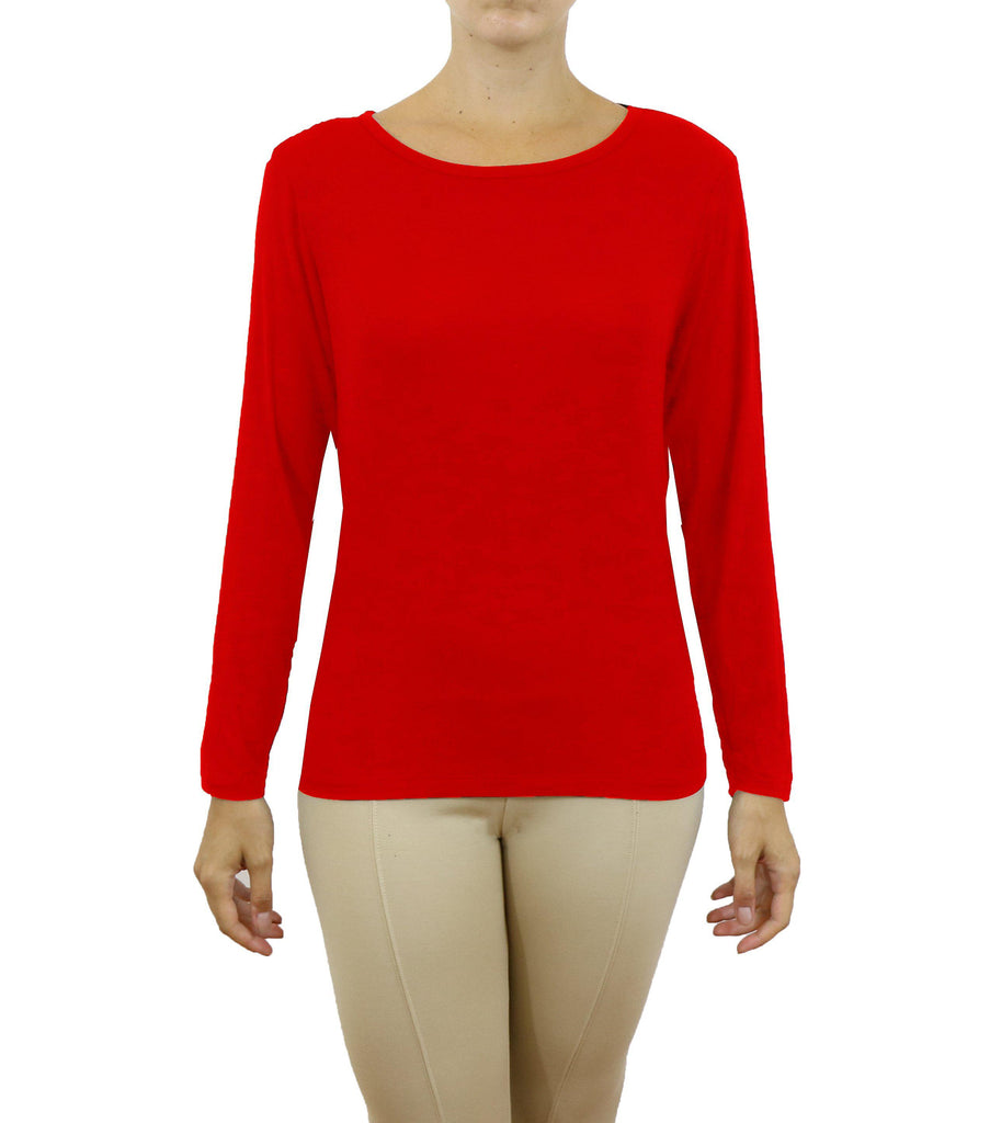 Women's Lightweight Long Sleeve Stretch Tee-Red-X-Small-Daily Steals