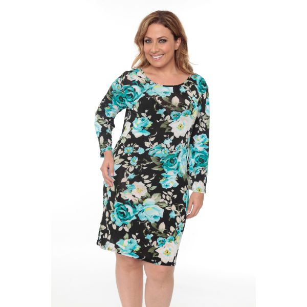 Plus 'Joanna' Dress-Blue Flower-XL-Daily Steals