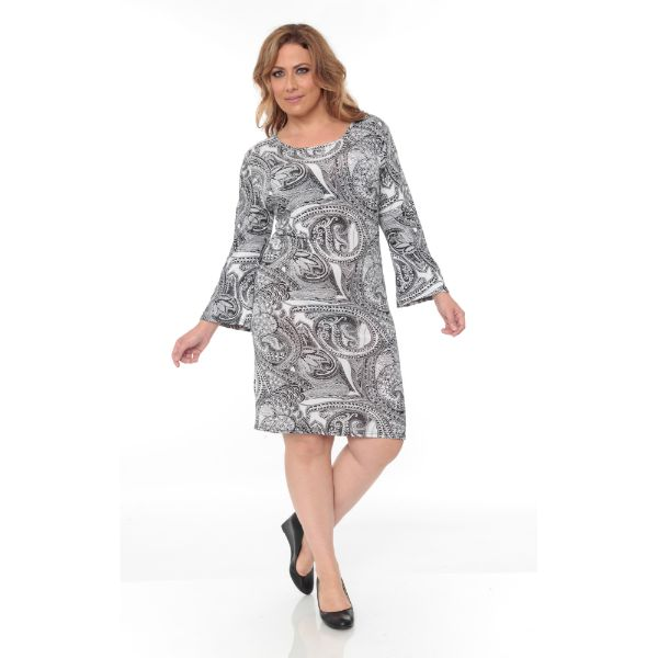 Plus 'Joanna' Dress-Black/White Paisley-XL-Daily Steals