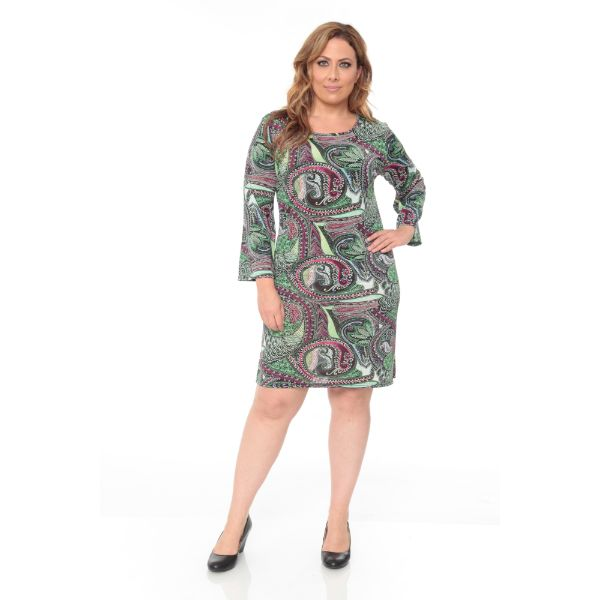 Plus 'Joanna' Dress-Green Paisley-2XL-Daily Steals