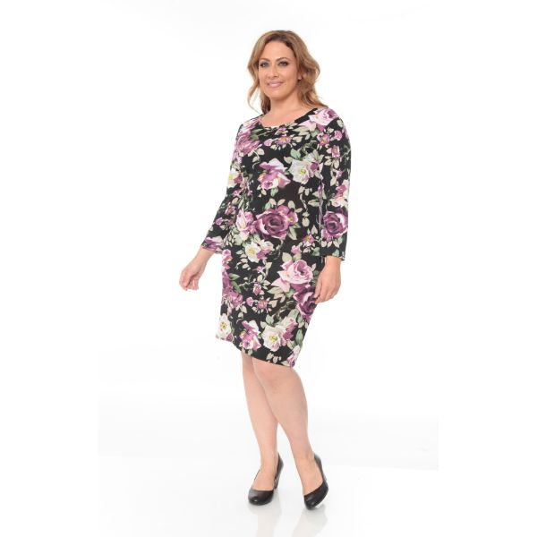 Plus 'Joanna' Dress-Purple Flower-XL-Daily Steals