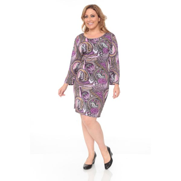 Plus 'Joanna' Dress-Violet Paisley-XL-Daily Steals