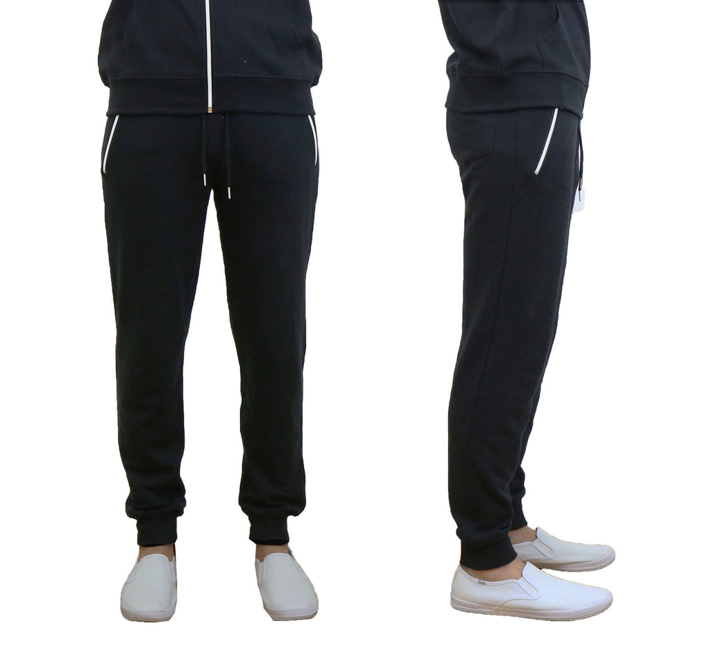 Men's French Terry Joggers with Zipper Pockets-Black-Small-Daily Steals