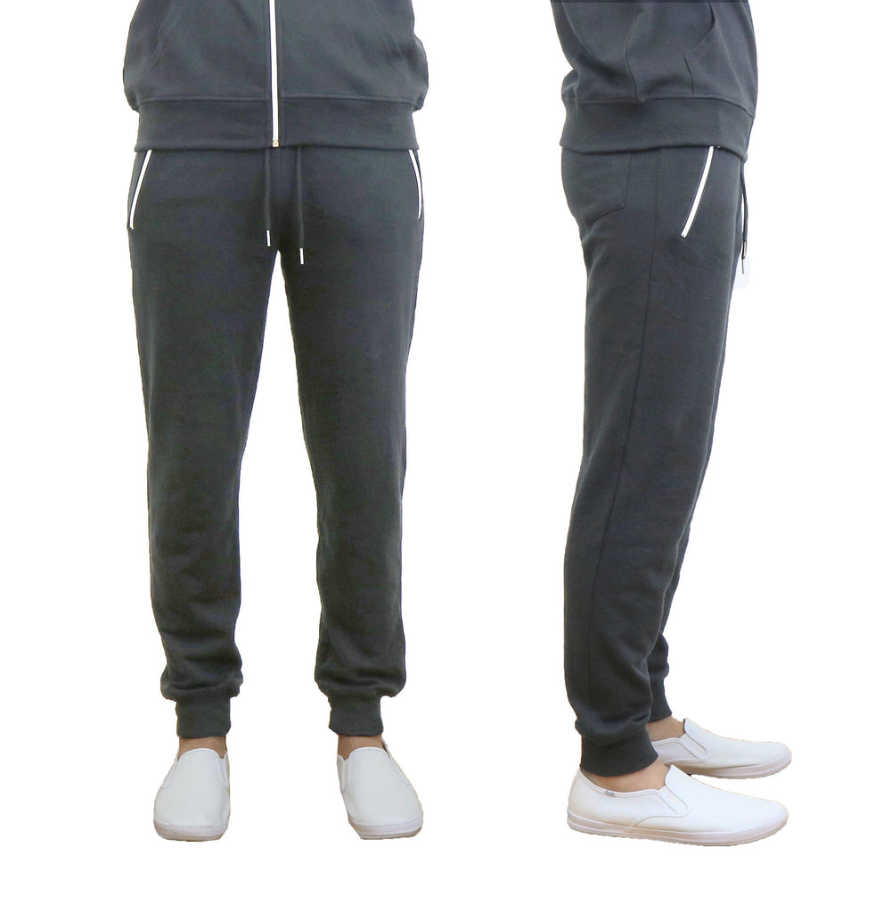 Men's French Terry Joggers with Zipper Pockets-Charcoal-Small-Daily Steals