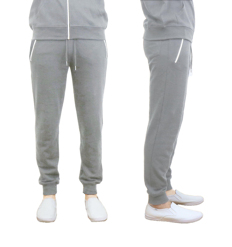 Men's French Terry Joggers with Zipper Pockets-Heather Grey-XX-Large-Daily Steals