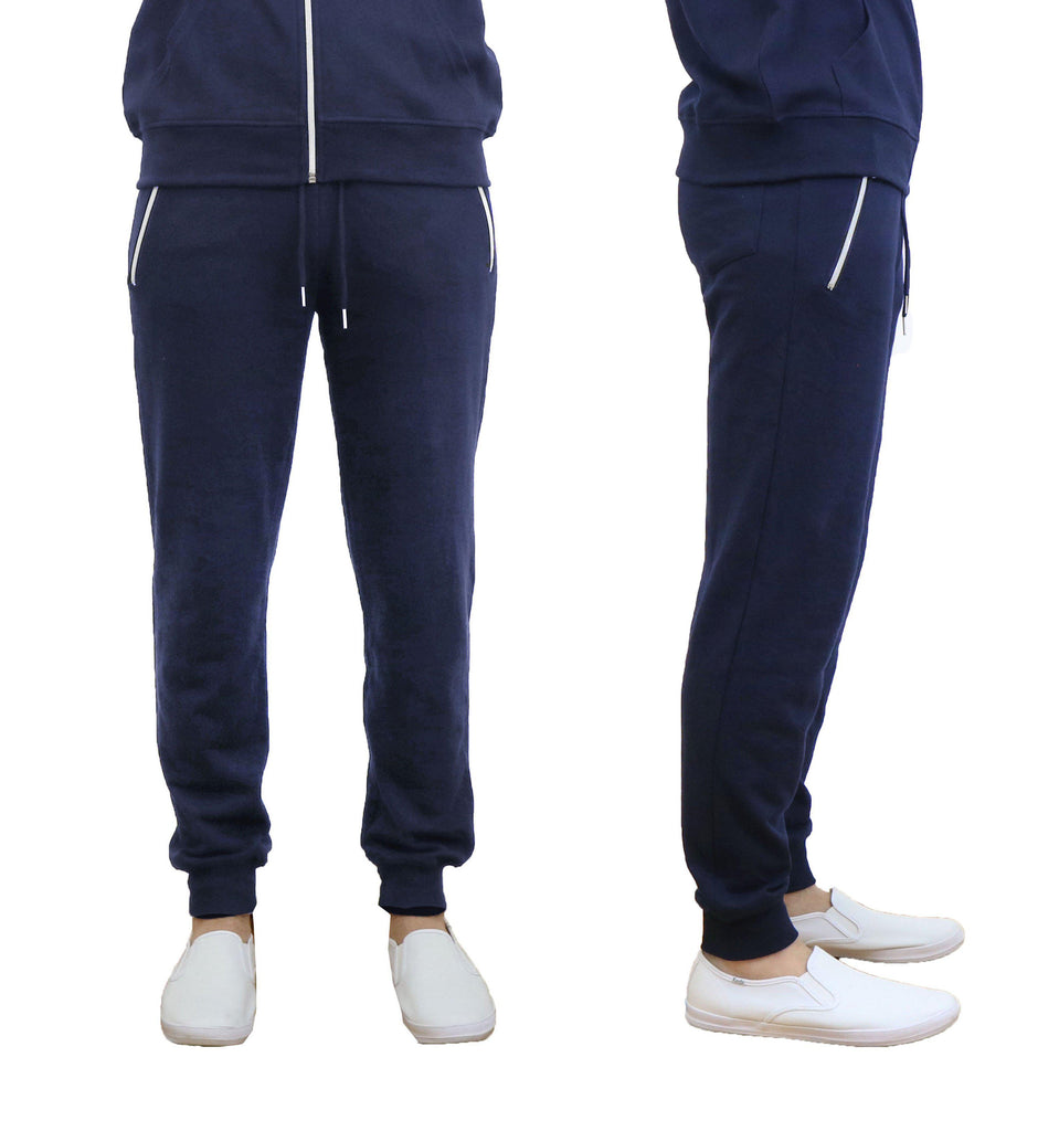 Men's French Terry Joggers with Zipper Pockets-Navy-Small-Daily Steals