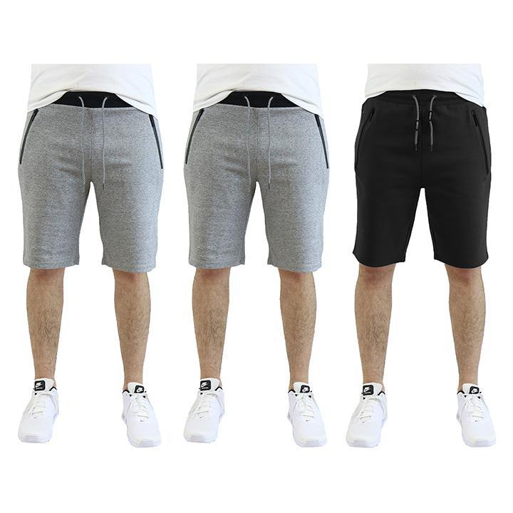 Men's Tech Fleece Shorts With Zipper Pockets - 3 Pack-Heather Grey - Heather Grey - Black-2X-Large-Daily Steals