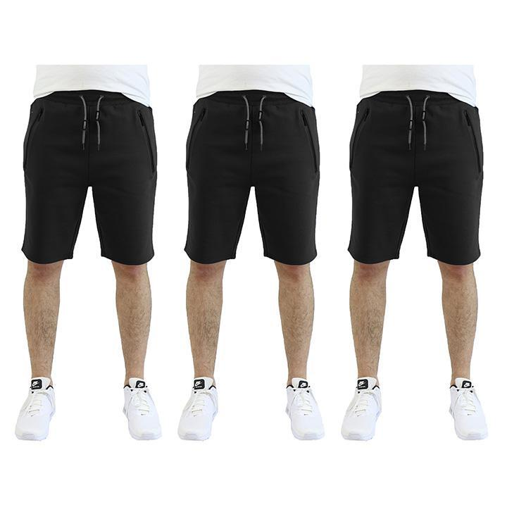 Men's Tech Fleece Shorts With Zipper Pockets - 3 Pack-Black - Black - Black-2X-Large-Daily Steals