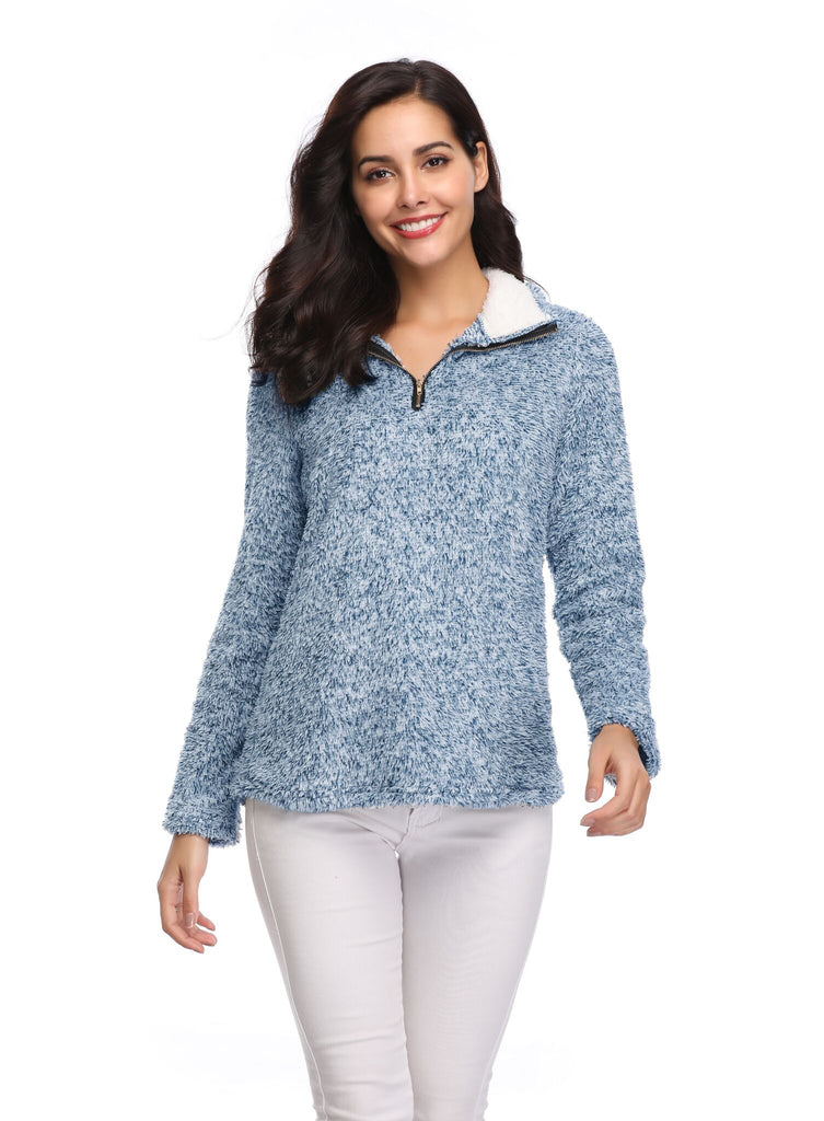 Zip Up Top Fleece Pullover-Daily Steals