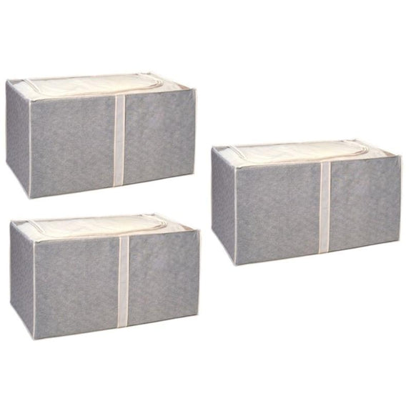 Jumbo Foldable Storage Bins-Beige-Foldable-3 Pack-Daily Steals