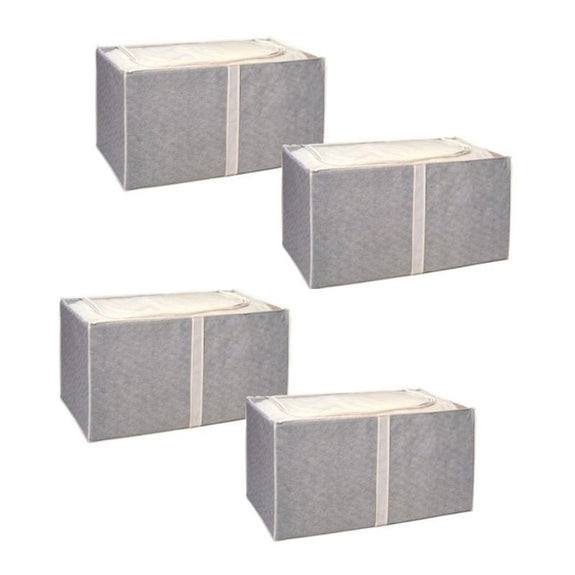 Jumbo Foldable Storage Bins-Beige-Foldable-4 Pack-Daily Steals