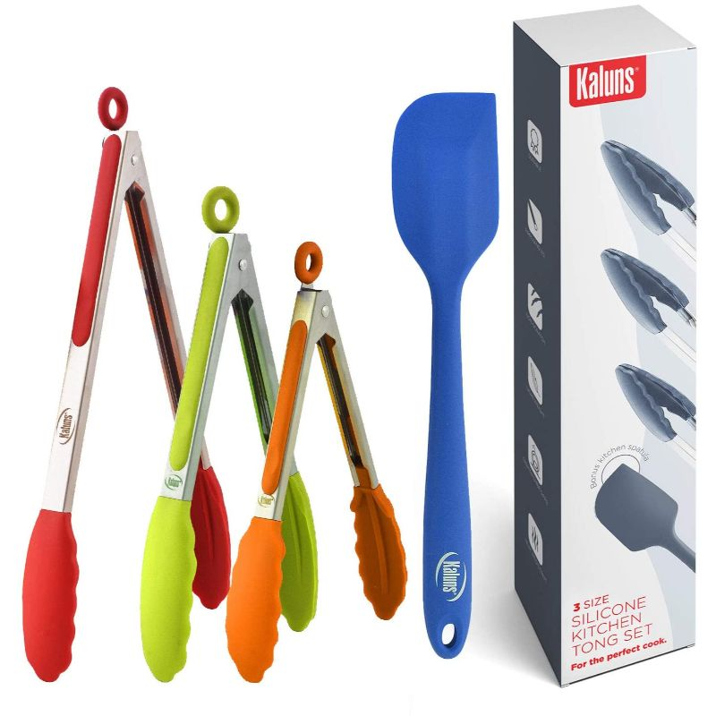 Kaluns Kitchen Non Stick Silicone Tip Stainless Steel Tongs, Set of 4 Tong