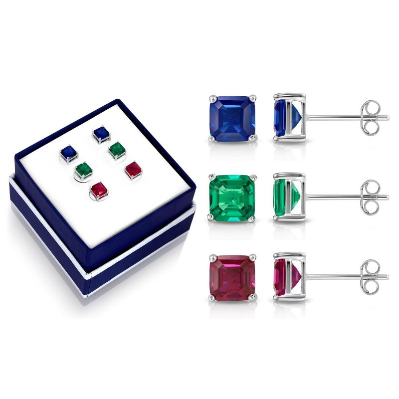 Asscher Cut Created Gemstone Stud Earring Set-Daily Steals