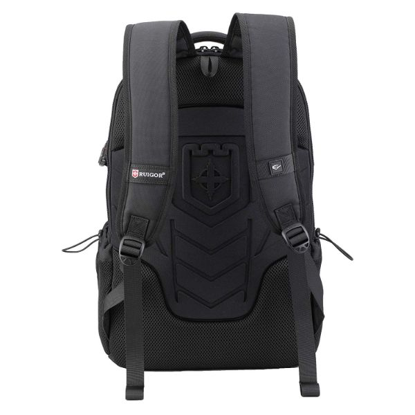 Daily Steals-Ruigor ICON 25, 26L Laptop Travel Backpack With Built in USB Port, Water Repellent - Black-Travel-