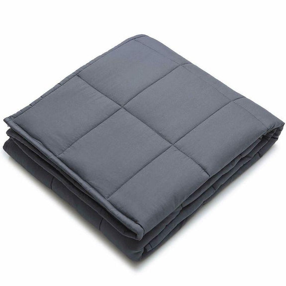 "Kathy Ireland Weighted Blanket with Glass Beads-Charcoal Grey-48"" x 72"" - 12 lb-Daily Steals"