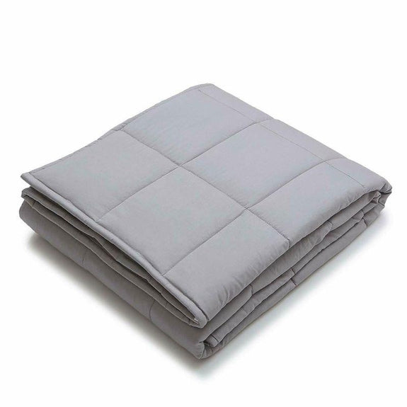 "Kathy Ireland Weighted Blanket with Glass Beads-Silver-48"" x 72"" - 12 lb-Daily Steals"