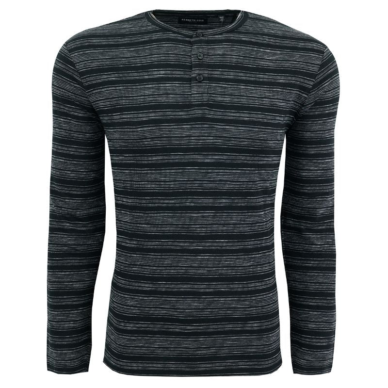 Kenneth Cole Men's Striped Henley Shirt-Black-L-Daily Steals