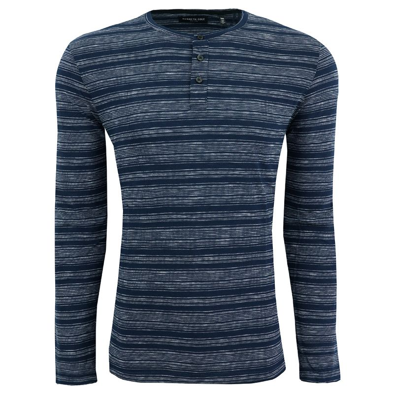 Kenneth Cole Men's Striped Henley Shirt-Indigo-L-Daily Steals