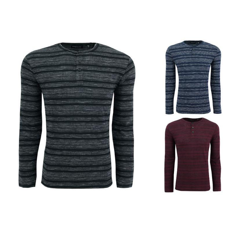 Kenneth Cole Men's Striped Henley Shirt-Daily Steals