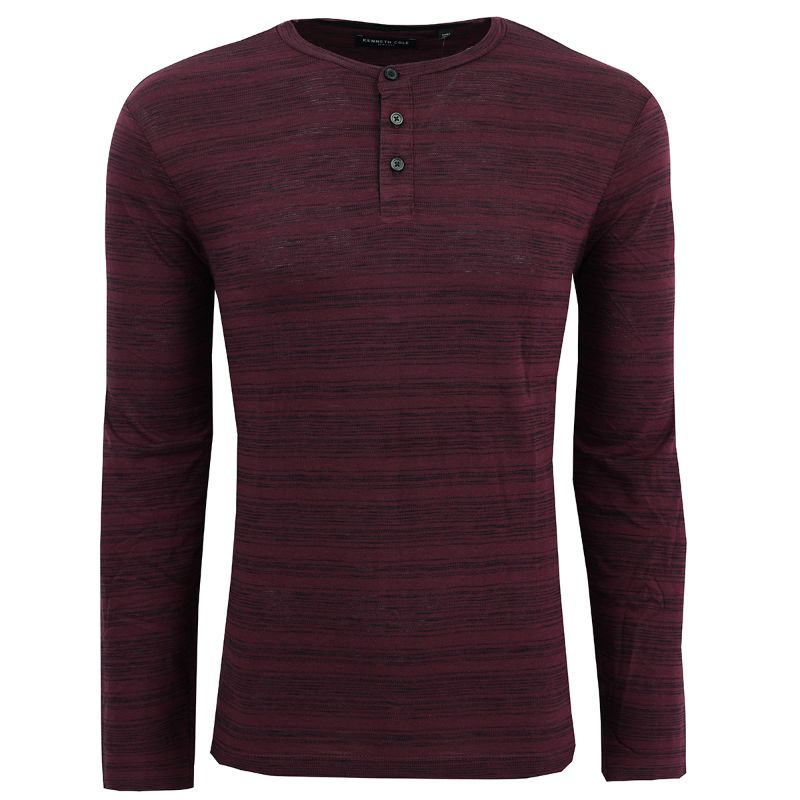 Kenneth Cole Men's Striped Henley Shirt-Wine-L-Daily Steals
