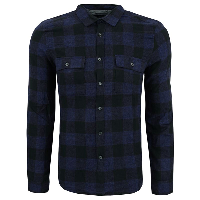 Kenneth Cole New York Men's Buffalo Long Sleeve Flannel Shirt-Blue Depths-L-Daily Steals