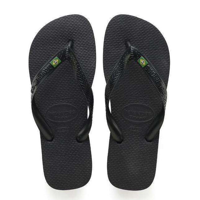 Havaianas Brazil Black Rubber Sandal-11 Womens/ 9 Mens-Daily Steals