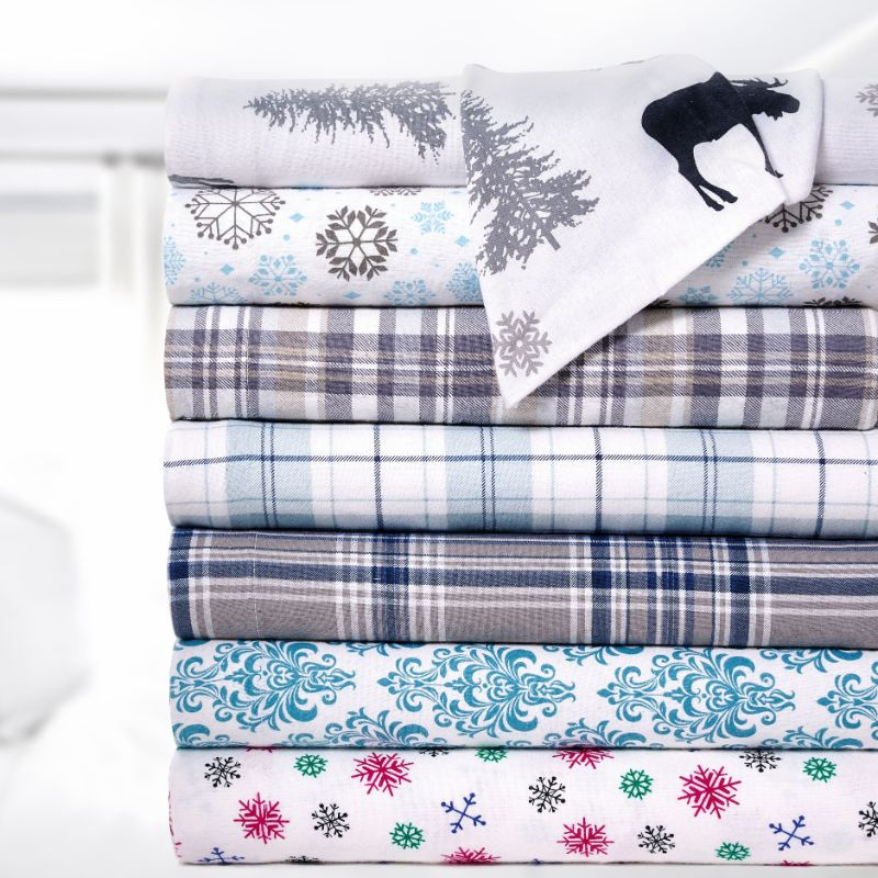Bibb Home Holiday & Winter Printed Flannel Sheet Set 100% Cotton-Daily Steals