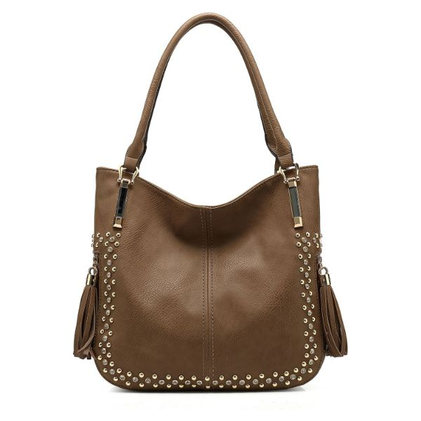 MKF Collection Betsy Shoulder Bag by Mia K. Farrow-Khaki-Studded-Daily Steals