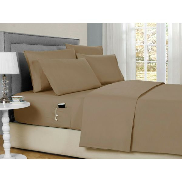 Bamboo 2000 6-Piece Smart Sheets Set with Storage Pocket-Khaki-Queen-Daily Steals
