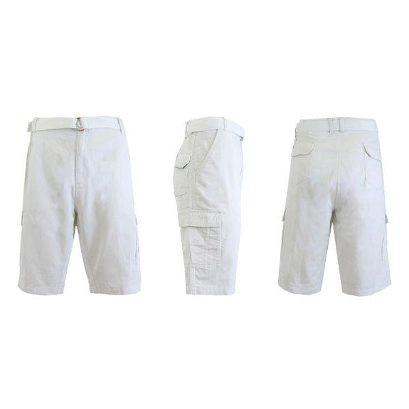 Men's Cotton Cargo Shorts with Tonal D-Ring Belt-White-30-Daily Steals