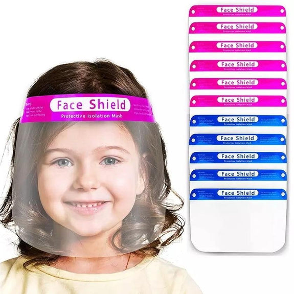Kids Anti-Fog Transparent Face Shield - 10 or 20 Pack-Blue-10 Pack-