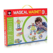 Kids Magnetic Tiles Building Blocks Playboards - 77 Pieces-