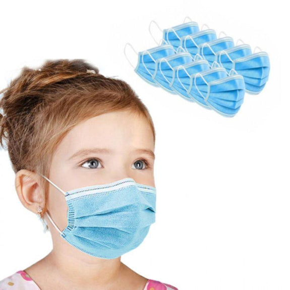 Kids Size Disposable Non-Medical 3-Ply Face Masks - 50 Pack