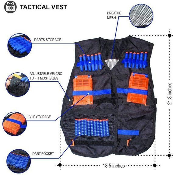 Kids Tactical Vest Kit for Nerf Guns - 46 Pieces-