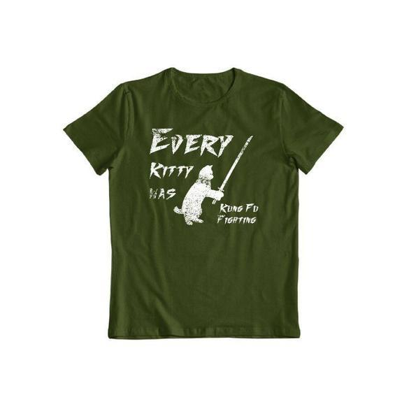 "Daily Steals-""Kitty Kung Fu"" T-Shirt-Men's Apparel-Forest Green-S-"
