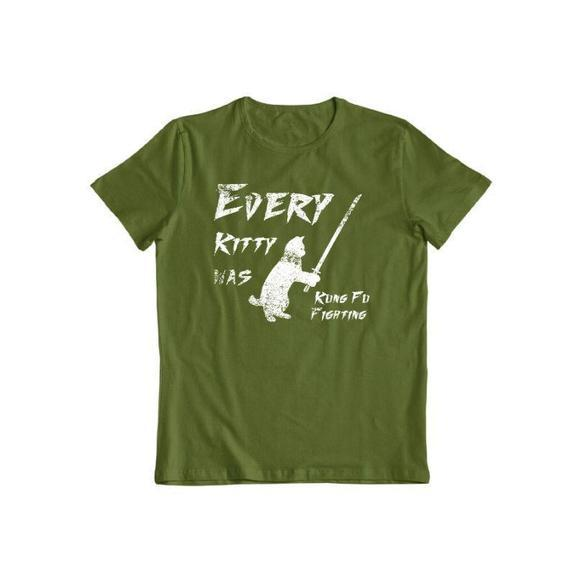 "Daily Steals-""Kitty Kung Fu"" T-Shirt-Men's Apparel-Military Green-S-"