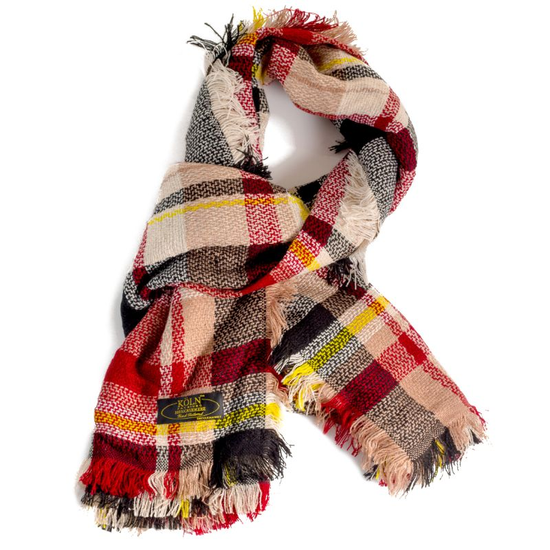 KÖLN Unisex 100% Cashmere Wool Scarf - Premium Quality Pashmina-Red Plaid-Daily Steals