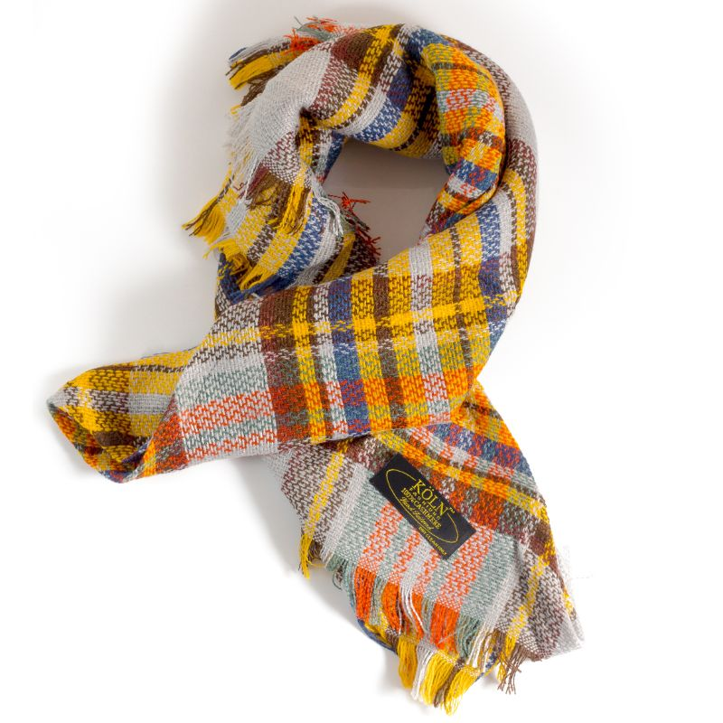 KÖLN Unisex 100% Cashmere Wool Scarf - Premium Quality Pashmina-Yellow Plaid-Daily Steals