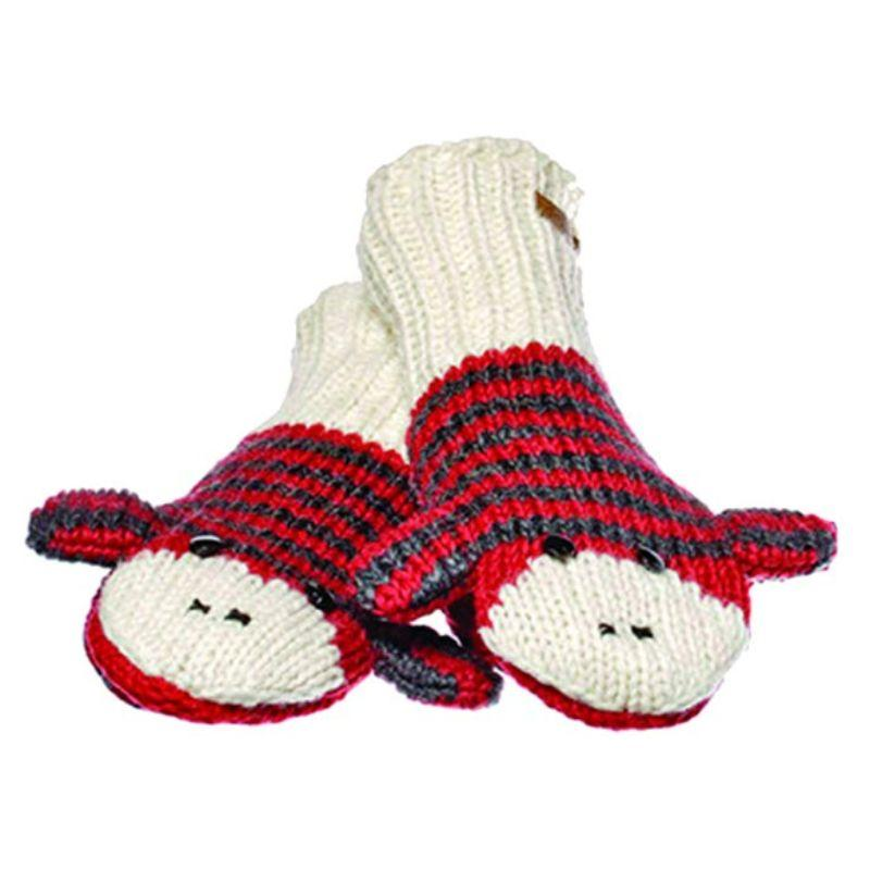 Knitwits Red & Black Striped Sock Monkey Wool Knitted Mittens-Daily Steals