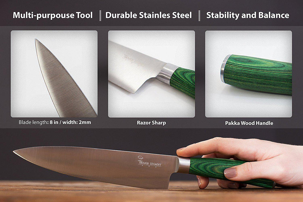 High-Carbon Stainless Steel Professional Chef Pakkawood Knife with Finger Guard-Daily Steals
