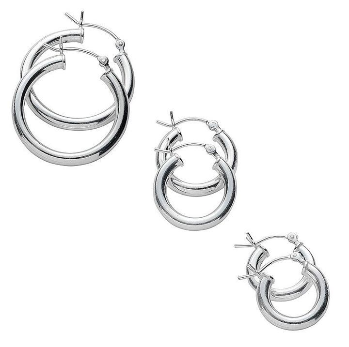 Classic Polished 3 Pair Hoop Earrings Set-White-Daily Steals