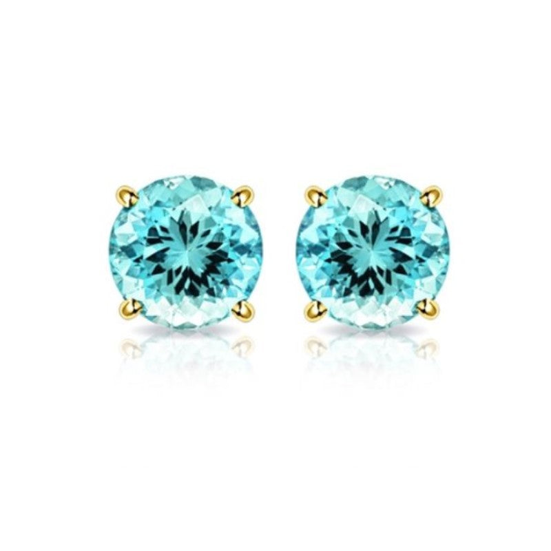 10K Yellow Gold 2.00 CTW Created Aquamarine Stud Earrings-Daily Steals